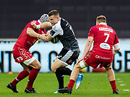 Scott Williams of Ospreys under pressure from Jonathan Davies of Scarlets<br /> <br /> Photographer Simon King/Replay Images<br /> <br /> Guinness PRO14 Round 11 - Ospreys v Scarlets - Saturday 22nd December 2018 - Liberty Stadium - Swansea<br /> <br /> World Copyright © Replay Images . All rights reserved. info@replayimages.co.uk - http://replayimages.co.uk