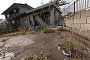 A discarded shoe in the garden of an abandoined house in the town of Tomioka, Futaba District of Fukushima, Japan. Monday April 29th 2013. The town was evacuated on March 12th after the March 11th 2011 earthquake and tsunami cause meltdowns at the nearby Fukushima Daichi nuclear power station. It lies well within the 20 kms exclusion zone though parts of the town were opened again in spring 2013 to allow locals to visit their property during daylight hours.