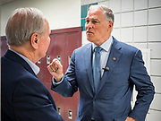 03 JUNE 2019 - ANKENY, IOWA: Governor JAY INSLEE, (D-WA), right, talks to ROB DENSON, President of DMACC during a tour at DMACC Monday. Governor Inslee is running to be the Democratic candidate for the US Presidency in 2020, He has made climate change a central point of his campaign and he toured a wind turbine program at the Des Moines Area Community College (DMACC) in Ankeny. Iowa generates more than 35% of its electrical needs through wind power. Iowa traditionally hosts the the first election event of the presidential election cycle. The Iowa Caucuses will be on Feb. 3, 2020.                        PHOTO BY JACK KURTZ