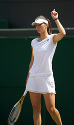 LONDON, ENGLAND - Tuesday, June 29, 2010: Tsvetana Pironkova (BUL)  challenges a line call during the Ladies' Singles Quarter-Final match on day eight of the Wimbledon Lawn Tennis Championships at the All England Lawn Tennis and Croquet Club. (Pic by David Rawcliffe/Propaganda)