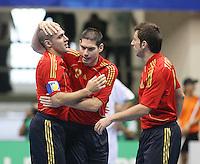 Fussball  International  FIFA  FUTSAL WM 2008   03.10.2008 Vorrunde Gruppe D Libya - Spain Lybien - Spanien Von links Javi RODRIGUEZ (ESP), KIKE (ESP) und TORRAS (ESP) freuen sich nach einem Tor