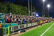 The away supporters during the EFL Sky Bet League 2 match between Forest Green Rovers and Swindon Town at the New Lawn, Forest Green, United Kingdom on 22 September 2017. Photo by Shane Healey.