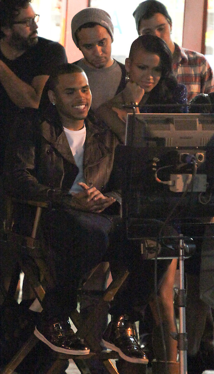 "FRIDAY, OCTOBER 16TH  LOS ANGELES, CA. ***EXCLUSIVE***  Chris Brown filming a music video for his song titled ""Crawl"".  While Rihanna filmed a music video in New York City on Friday night, Chris Brown was simultaneously filming his music video with a Rihanna Look-A-Like in Downtown Los Angeles. Most of Chris Brown's scenes on Friday night involved him singing and dancing with an actress who was obviously suppose to be Rihanna. Photo Sales; Eric Ford/818-613-3955  Danny Mayer/310-600-7068  info@onlocationnews.com, danny@dannymayer.com"