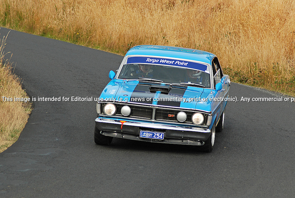 254 Glenn Ridge & Bob Edwards..1971 Ford Falcon GT.Day 2.Targa Wrest Point 2010.Southern Tasmania.31st of January 2010.(C) Sarah Biggin.Use information: This image is intended for Editorial use only (e.g. news or commentary, print or electronic). Any commercial or promotional use requires additional clearance.