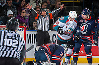KELOWNA, CANADA - JANUARY 7: Referee Kevin Webinger makes a call at the Kelowna Rockets against the Kamloops Blazers on January 7, 2017 at Prospera Place in Kelowna, British Columbia, Canada.  (Photo by Marissa Baecker/Shoot the Breeze)  *** Local Caption ***