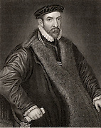 Nicholas Bacon (1509-1579)  English lawyer and statesman, born at Chiselhurst, Kent.  Appointed Keeper of the Great Seal by Elizabeth I in 1558. Father of the philosopher and statesman Francis Bacon.  Engraving.