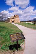 The mission church San Jose de Tumacacori and interpretive sign, Tumacacori National Historic Park, Arizona