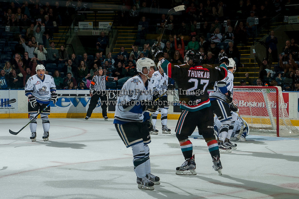 KELOWNA, CANADA - OCTOBER 26:  Calvin Thurkauf #27 of the Kelowna Rockets celebrates a second period goal against the Victoria Royals on October 26, 2016 at Prospera Place in Kelowna, British Columbia, Canada.  (Photo by Marissa Baecker/Shoot the Breeze)  *** Local Caption ***