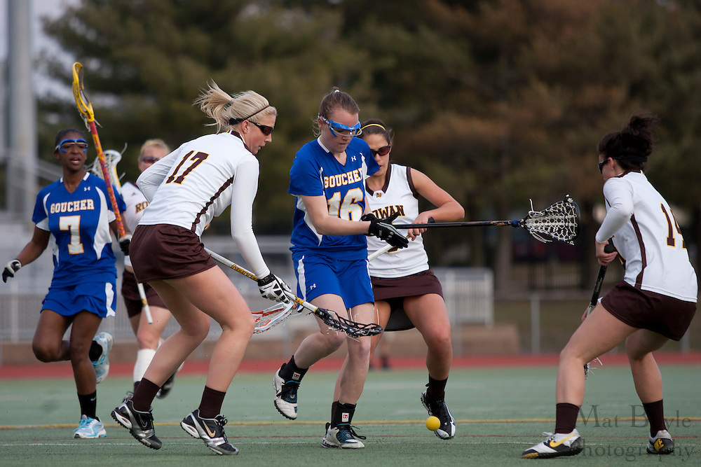 Rowan University  Fr. Attacker Vicky Sucharski and Goucher College Defender Erin Bradley