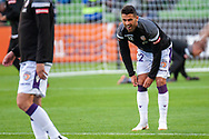 Perth Glory defender Alex Grant (2) smiles during warm up at the Hyundai A-League Round 2 soccer match between Melbourne Victory and Perth Glory at AAMI Park in Melbourne.