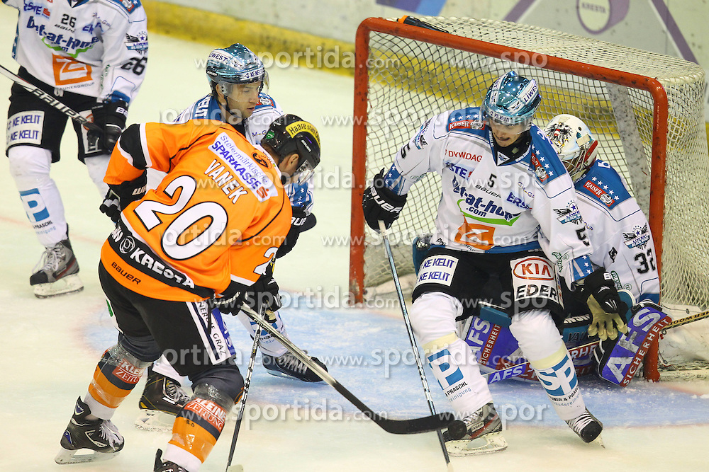 12.10.2012, Eisstadion Liebenau, Graz, AUT, EBEL, Graz 99ers vs EHC Black Wings Linz, 11. Runde, im Bild Thomas Vanek,(99ers, #20), Marc Andre Dorion (EHC Liwest Black Wings Linz, #10), Franklin Macdonald (EHC Liwest Black Wings Linz, #5), Alex Westlund (EHC Liwest Black Wings Linz, #32) // during the Erste Bank Icehockey League 11th Round match betweeen Graz 99ers and HC TWK Innsbruck at the Icehockey Stadium Liebenau, Graz, Austria on 2012/10/12. EXPA Pictures © 2012, PhotoCredit: EXPA/ Patrick Leuk