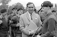 Denis Healey, UK Minister for Defence, in Belfast, N Ireland, during a visit to peace-keeping troops serving in the Province, 18th September 1969, 196909180253d. <br /> <br /> Copyright Image from Victor Patterson, 54 Dorchester Park, Belfast, UK, BT9 6RJ<br /> <br /> t1: +44 28 9066 1296<br /> t2: +44 28 9002 2446<br /> m: +44 7802 353836<br /> <br /> e1: victorpatterson@me.com<br /> e2: victorpatterson@gmail.com<br /> <br /> IMPORTANT: My Terms and Conditions of Business are at www.victorpatterson.com