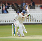 London GREAT BRITAIN, Middlesex's,  Billy GODLEMAN, lines the bat up, during his 36 runs, during the LV. County Championship Cricket match, Middlesex vs Glamorgan, Lord's Cricket Ground, St John's Wood, 23.04.2008 [Mandatory Credit Peter Spurrier/Intersport Images]