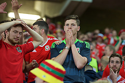 LILLE, FRANCE - Friday, July 1, 2016: A Wales supporter holds his hands to his mouth in disbelief as he celebrates the 3-1 victory against Belgium at full time after the UEFA Euro 2016 Championship Quarter-Final match at the Stade Pierre Mauroy. (Pic by Paul Greenwood/Propaganda)