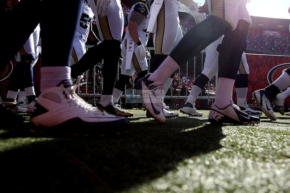Members of the St. Louis Rams enter the field against the San Francisco 49ers , Sunday, Nov. 11, 2012 at Candlestick Park, in San Francisco, Ca.