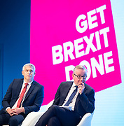 Conservative Party Conference at Manchester Central, Manchester, Great Britain <br /> 29th September 2019<br /> <br /> Day 1 <br /> <br /> Steve Barclay and Michael Gove as Jacob Rees-Mogg speaks <br /> <br /> <br /> Photograph by Elliott Franks