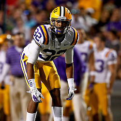 November 10, 2012; Baton Rouge, LA, USA;  LSU Tigers cornerback Jalen Collins (32) against the Mississippi State Bulldogs during the first half of a game at Tiger Stadium.  Mandatory Credit: Derick E. Hingle-US PRESSWIRE