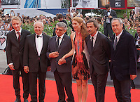 Benjamin Utzerath, Vincent Nemeth, Aleksandr Sokurov, Johanna Korthals Altes, Louis-Do de Lencquesaing and Pierre-Olivier Bardet at the gala screening for the film Francofonia at the 72nd Venice Film Festival, Friday September 4th 2015, Venice Lido, Italy.