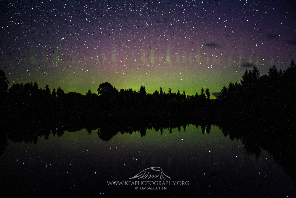 Aurora Australis from March 3, 2017,  displaying a unique 'picket fence' display in Te Anau, Fiordland, New Zealand.