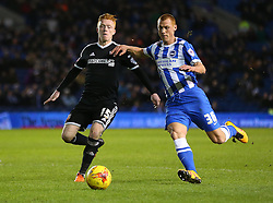 Steve Sidwell of Brighton and Hove Albion and Ryan Woods of Brentford challenge for the ball - Mandatory byline: Paul Terry/JMP - 05/02/2016 - FOOTBALL - Falmer Stadium - Brighton, England - Brighton v Brentford - Sky Bet Championship