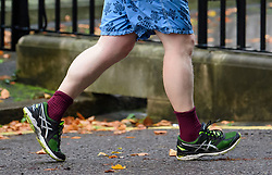 © Licensed to London News Pictures . 28/09/2017. London, UK. Detail of running shoes, socks and shorts worn by British foreign secretary BORIS JOHNSON, while running in Westminster, London on September 28, 2017. Boris Johnson has been accused of challenging government Brexit strategy ahead of Conservative Party Conference which starts in Manchester on Sunday. Photo credit: Ben Cawthra/LNP