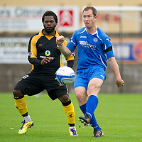 St Johnstone's Frazer Wright pictured in a pre-season friendly game against East Fife on Wednesday night, alongside ex-saint Collin Samuel...<br /> Picture by Graeme Hart.<br /> Copyright Perthshire Picture Agency<br /> Tel: 01738 623350  Mobile: 07990 594431