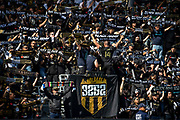 LAFC fans in the 3252 section hold scarves before a MLS soccer match  against the Seattle Sounders in Los Angeles, Sunday, April 21, 2019. LAFC defeated the Sounders 4-1. (Ed Ruvalcaba/Image of Sport)