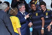 20100526: BRASILIA, BRAZIL - Brazilian President Luiz Inacio Lula da Silva welcomes Brazil National Football Team at Alvorada Palace. In picture: Lula da Silva (C) and his wife Marisa Leticia (L) with players Robinho and Elano. PHOTO: CITYFILES