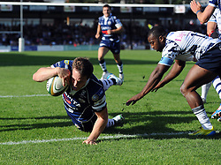 Bristol Rugby's Bryan Rennie scores a try - Photo mandatory by-line: Joe Meredith/JMP - Tel: Mobile: 07966 386802 06/10/2013 - SPORT - FOOTBALL - RUGBY UNION - Memorial Stadium - Bristol - Bristol Rugby V Bedford Blues - The Championship