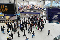 Pictured are commuters at London's Waterloo Station queuing after strikes by staff on London Underground.<br /> Tuesday, 29th April 2014. Picture by Ben Stevens / i-Images