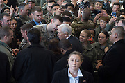 US Vice President Mike Pence greets US troops at Yokota Air Base in Tokyo, Japan, 08 February 2018. Pence is in Japan before heading to South Korea for the Winter Olympics. 08/02/2018-Fussa, JAPAN