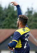 Oxford United midfielder Marvin Johnson (28) celebrates his goal during the FA Cup match between Merstham and Oxford United at Moatside, Merstham, United Kingdom on 5 November 2016. Photo by Andy Walter.