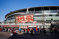General View outside the Emirates Stadium as fans arrive for the match - Photo mandatory by-line: Rogan Thomson/JMP - 07966 386802 - 15/02/2015 - SPORT - FOOTBALL - London, England - Emirates Stadium - Arsenal v Middlesbrough - FA Cup Fifth Round Proper.