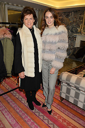 Left to right, the DUCHESS OF RUTLAND and LADY VIOLET MANNERS at the Mila Furs Trunk Show held at the Haymarket Hotel, 1 Suffolk Place, London on 1st November 2016.