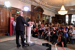 © Licensed to London News Pictures. 26/05/2017. London, UK. Jeremy Corbyn, Leader of the Labour party, gives a speech on democracy in central London, in solidarity with the victims of the terrorist attack in Manchester.  Photo credit : Stephen Chung/LNP