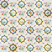 Floral design Painted ceramic tiles seamless photographed in Aveiro district, Portugal