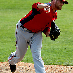 March 24, 2012; Sarasota, FL, USA; Washington Nationals relief pitcher Ryan Mattheus (52) throws against the Baltimore Orioles during the bottom of the fourth inning of a spring training game at Ed Smith Stadium.  Mandatory Credit: Derick E. Hingle-US PRESSWIRE