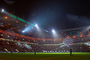 The light show before the Europa League group stage match between Celtic and RP Leipzig at Celtic Park, Glasgow, Scotland on 8 November 2018.