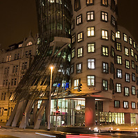 That's what happen when you drink too much beer and try to build a house at the same time :-). The original semi-glass building known as the dancing house, or called Tancici Dum in Czech language, has been constructed between 1992-1996.