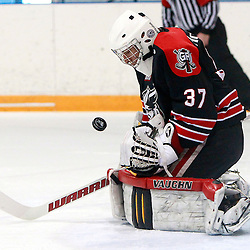 NEWMARKET, ON - Feb 2 : Ontario Junior Hockey League Game Action between the Georgetown Raiders and the Newmarket Hurricanes, Michael McNiven #37 of the Georgetown Raiders Hockey Club makes the save during first period game action.<br /> (Photo by Brian Watts / OJHL Images)