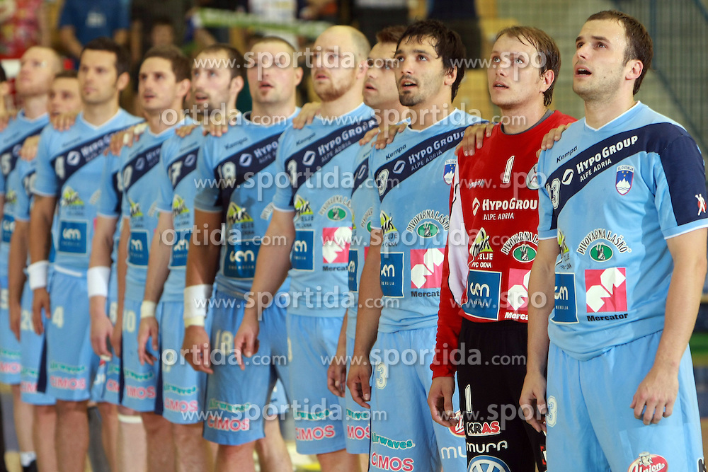 Team Slovenia before  handball game between men national teams of Slovenia and Slovakia, first qualification game for the World Chamionship 2009, on June 7, 2008, in Arena Zlatorog, Celje, Slovenija. Result: 33 : 33. (Photo by Vid Ponikvar / Sportal Images)