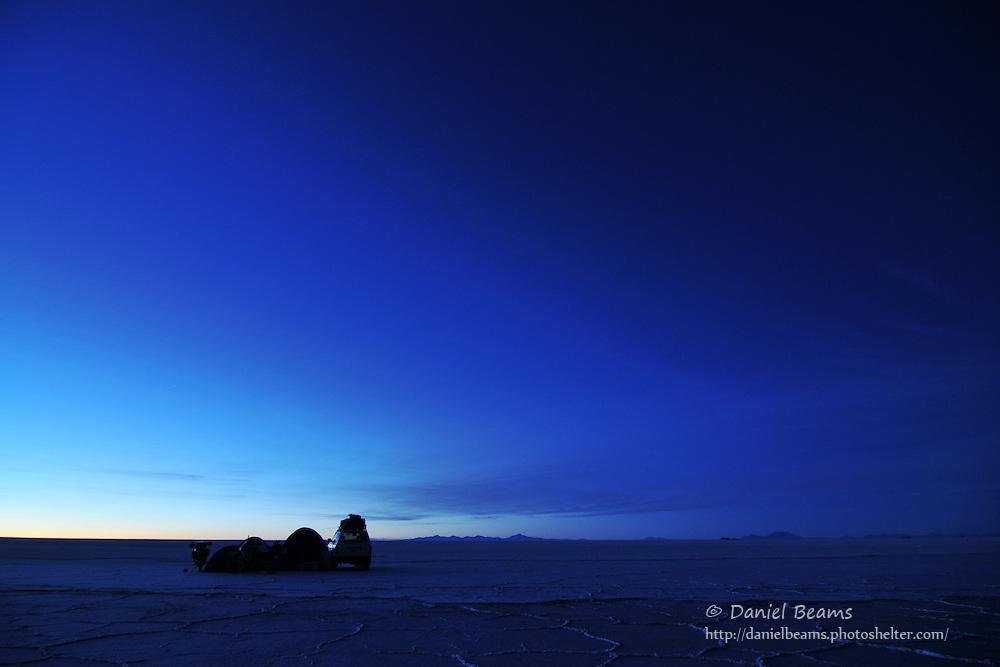 Camping on the Salar de Uyuni, Bolivia at sunrise