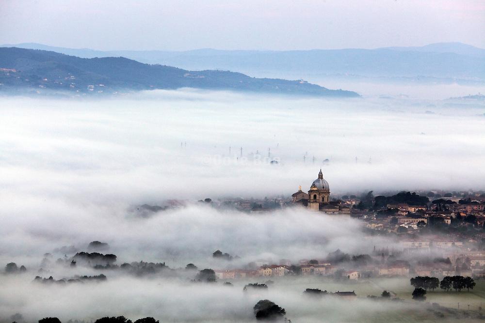 Assisi valley, Italy, with view on basilica  of Santa Maria degli Angeli