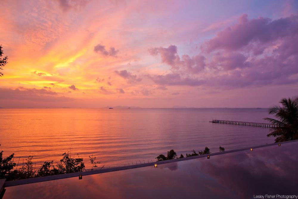 Swimming pool and ocean view at The Headland Villa 6, Ban Taling Ngam, Koh Samui, Thailand