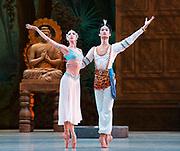 La Bayadere <br /> The Mariinsky Ballet <br /> at The Royal Opera House, London, Great Britain <br /> Press photocall 10th August 2017 <br /> <br /> Viktoria Tereshkina as Nikiya<br /> <br /> Kimin Kim as Solor <br /> <br /> <br /> Photograph by Elliott Franks <br /> Image licensed to Elliott Franks Photography Services