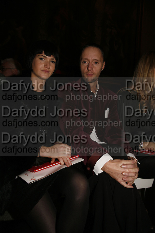 Emily Lobel and Ian Garland, Party to celebrate the Christian Lacroix Fashion in Motion fashion show and the opening of  M/M Paris: Antigone Under Hypnosis part of  Paris Calling the UK-wide celebration of contemporary French culture. V. & A. London. 31 October 2006. -DO NOT ARCHIVE-© Copyright Photograph by Dafydd Jones 66 Stockwell Park Rd. London SW9 0DA Tel 020 7733 0108 www.dafjones.com