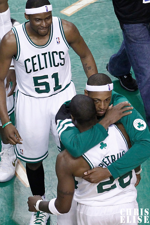 03 June 2012: Boston Celtics small forward Mickael Pietrus (28) is congratulated by Boston Celtics small forward Paul Pierce (34) at the end of the Boston Celtics 93-91 overtime victory over the Miami Heat, in Game 4 of the Eastern Conference Finals playoff series, at the TD Banknorth Garden, Boston, Massachusetts, USA.