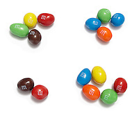 four groups of m&m candies photographed on a white background.