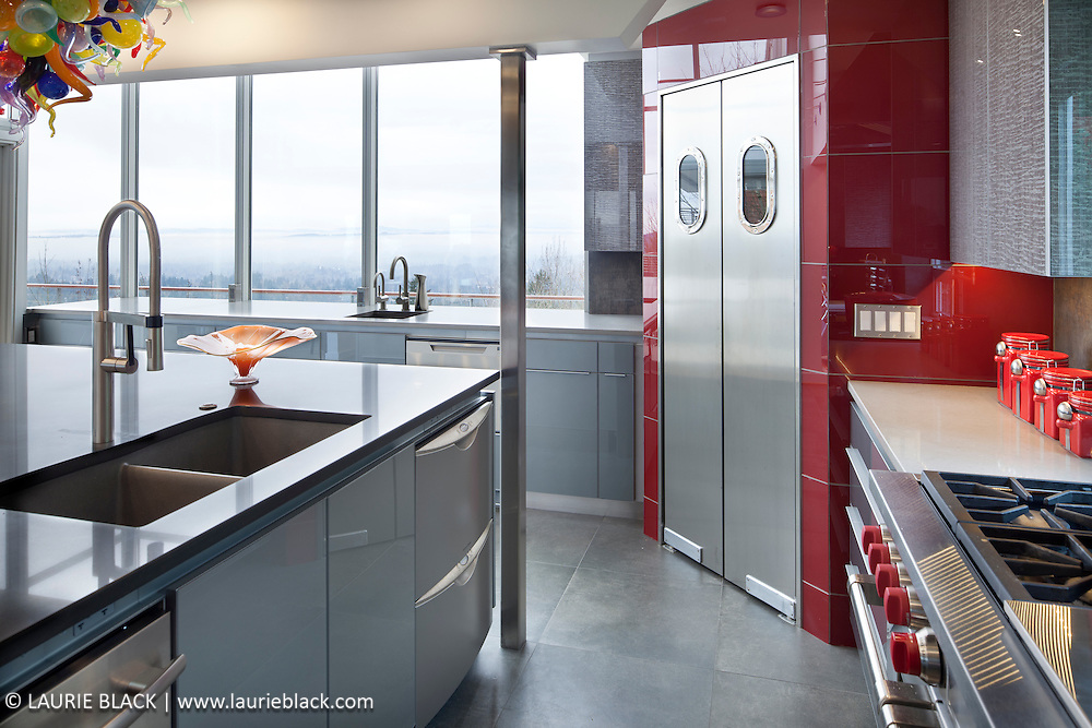 Contemporary kitchen with glass