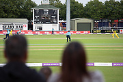 The score box at Grace Rd during the Royal London Women's One Day International match between England Women Cricket and Australia at the Fischer County Ground, Grace Road, Leicester, United Kingdom on 4 July 2019.